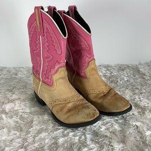 D West Tan Pink Cowboy Boots Sz 10 Style 1938